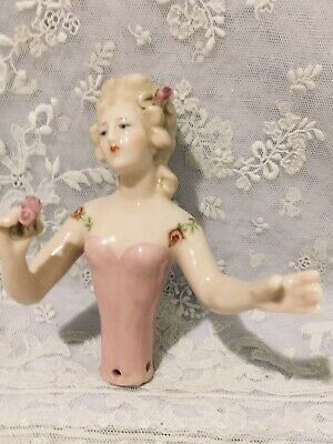 """Porcelain Half Doll """"Blanche"""" approx 9.5.cms tall painted in pink"""