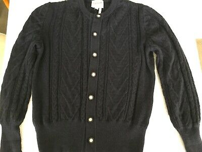 VINTAGE 90s SPINELLI NAVY KNIT WOOL MOHAIR CARDI CARDIGAN JUMPER SIZE 10