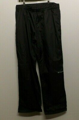 Men's Columbia Omni Tech Lightweight Rain Pants Waterproof Black XL x 32 EUC