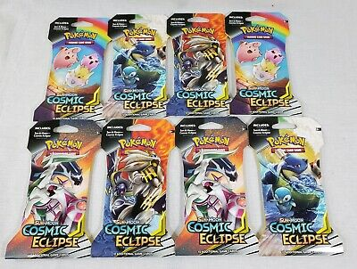 Pokemon COSMIC ECLIPSE Booster Pack Lot (x8) Factory Sealed Carded Blister Packs