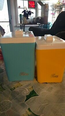 Vintage Cannisters retro 1950's rice and tea. Blue and yellow