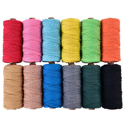 3mm*100m Cotton Braided Twisted Macrame Cord String Cotton Rope Colored