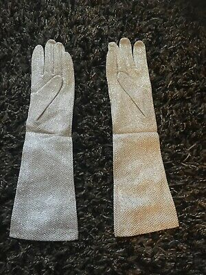 vintage 50s silver lurex evening elbow gloves