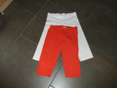 Girls Next Cycling Shorts 2 Pair Age 9  White Orange Cotton Non Smoke House