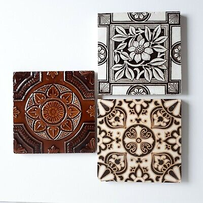 3 Antique Reclaimed Tiles Inc. Campbell Brick & Tile Co. Encaustic Salvage