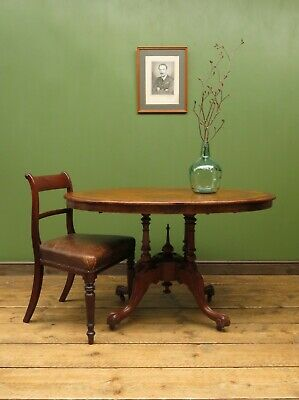 Antique Victorian Country Oval Dining Table, Loo Table with tilt top seats four