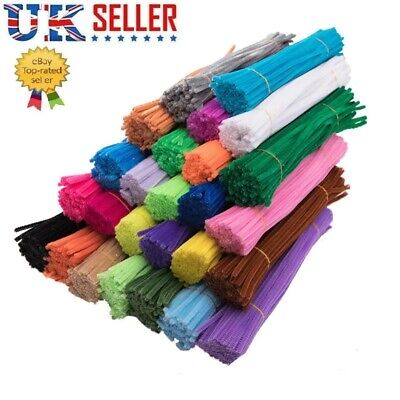 "Pipe Cleaners And Crafts Chenille Art Diy Colour 30cm 12"" Long 50/100/200 Pack"