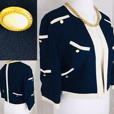 Vintage French Chanel Style Ladies Crop Navy Crop Lined Open Jacket 42'' 12 14