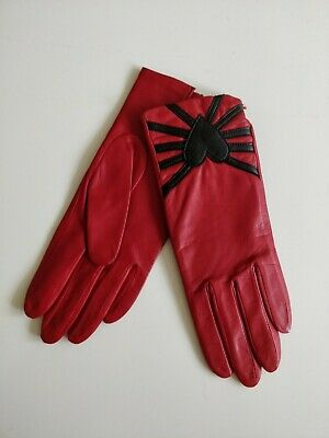 Dents Ladies Red Leather Lined Gloves Size 7