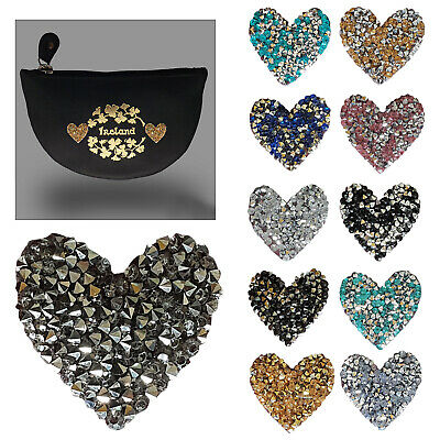 35mm Crystal Diamante Rhinestone Iron On Heart Motif Applique Patch for T Shirts