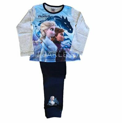 Licensed Girls Disney Frozen 2 Anna Elsa Long Pyjamas Pjs Age 4-10 Year Fearless