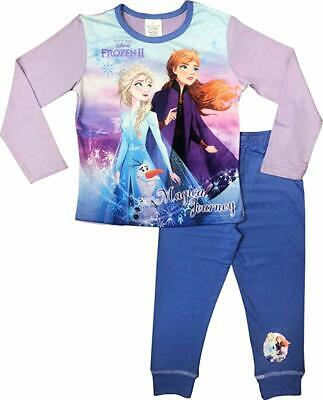 Girls Disney Frozen 2 Elsa Long Pyjamas Pjs Age 4-10 Years Magical Journey Lilac
