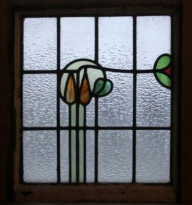 Art Nouveau English Stained Glass Window In Original Frame Part Double Glazed