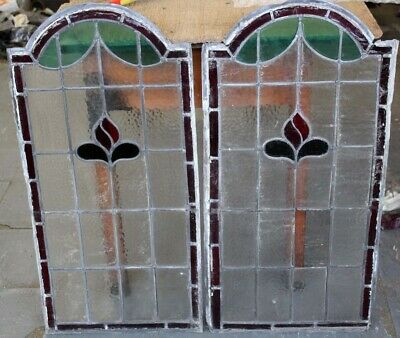 Edwardian Antique English Floral Pair Stained Glass Windows