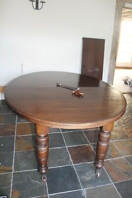 Lovely Antique Extendable Dark Wood Dining Table - on Castors