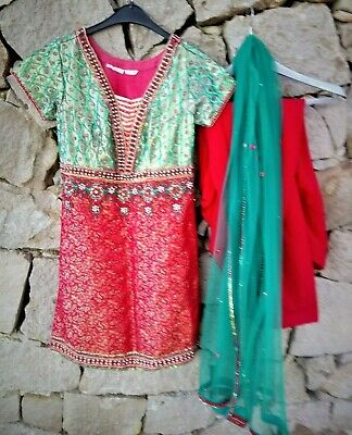 Vintage Traditional Indian Brocade Beaded Sequin Salwar Tunic Dress Size Small