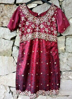 Vintage Traditional Indian Red Beaded Sequin Kameez Tunic Dress Ethnic Asian S/M