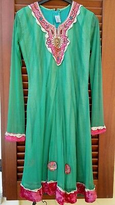 Vintage Indian Green Sequin Bohemian Ethnic Kameez Tunic Dress Kurta Size Small