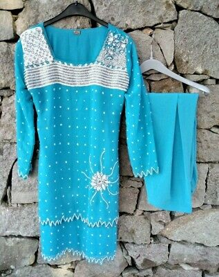 Vintage Pale Blue Indian Salwar Kameez 2 Piece Suit Asian Ethnic Bollywood Tunic