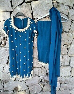 Vintage Indian Blue 3 Piece Salwar Kameez Suit Asian Bollywood Size Medium