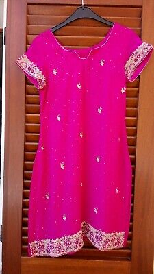 Vintage Pink Silk Sequin Embroidered Indian Salwar Kameez 2 Piece Asian Suit