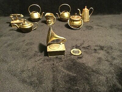 Vintage Copper Brass Miniature Gramophone With Detachable Horn