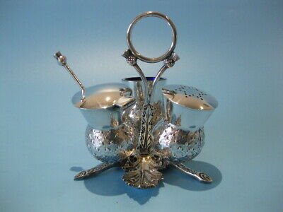 Beautiful Antique Silver Plated Victorian Figural Scottish Thistle Cruet Set