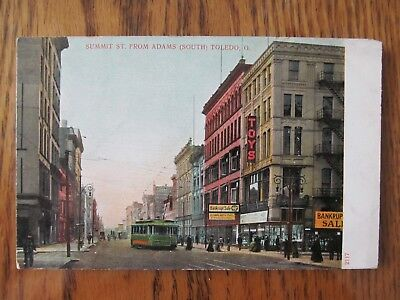 Vintage Postcard Summit Street From Adams Toledo Ohio City Building Trolley