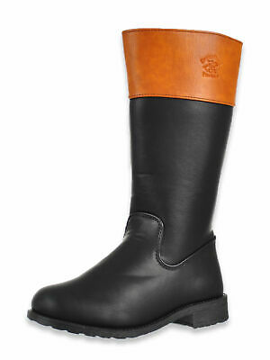 Girls Black Tan Mid Knee High Winter Riding School Zip Up Boots,Uk 12-3 Bh844408