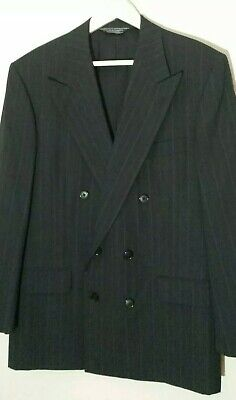 GIEVES & HAWKES Savile Row Black Stripe Wool Double Breasted Sport Coat 40 R