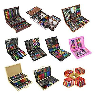 Childrens Craft Art Artists Set Hexagonal Box Crayons Paints Pens Pencils Set