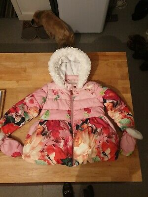Girls TED BAKER Pink Floral/Bird Winter Hooded Coat Age 5 - 6