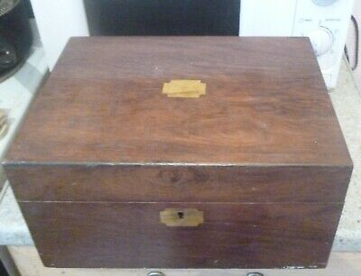 Antique mahogany and brass writing slope box  no reserve