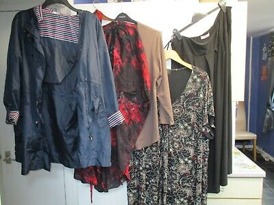Job lot 3 tops 1 maxi skirt 1 rain proof light jacket all used size 24/26