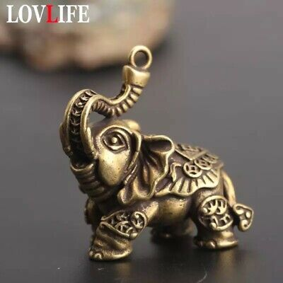Elephant Copper Keychain Pendant Vintage Brass Metal Pendant Desk Home