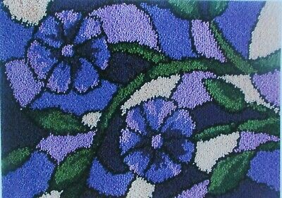 "LATCH HOOK RUG  KIT  "" STAINED GLASS RUG"" Floral design by Mary Maxim"