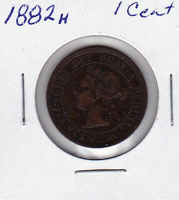 1882H Obv1 Canada 1 cent coin large penny