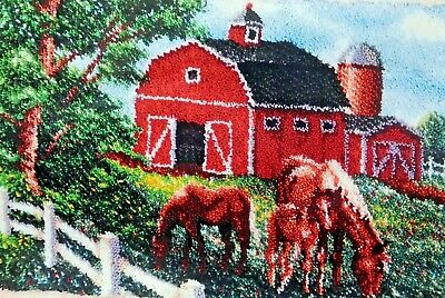 "LATCH HOOK  RUG KIT   ""SUMMER BARN"" by Craftways Horse and barn scene"