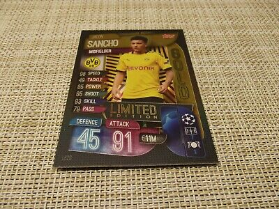 Topps Match Attax 19/20,Champions & Europa League,Jadon Sancho Gold Limited Edit