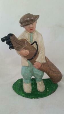 Vintage Painted Cast Iron Golf Caddy Doorstop Bookend