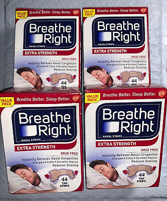 lot of 4 BREATHE RIGHT Nasal Strips EXTRA STRENGTH (44 ea )Tan Strips TOTAL 176