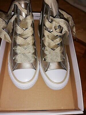 Gold Leather Converse High Tops Trainers 3 New