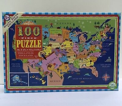 EEBOO 100 PIECE United States Map Puzzle- This Land Is Your ...