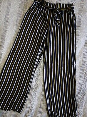 Gold Black And White Striped Girls Trousers Age 7-8