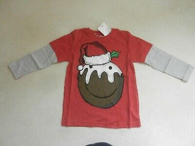 BNWT Next Boys Red Christmas Pudding Long Sleeved Top T-Shirt Age 7 Years