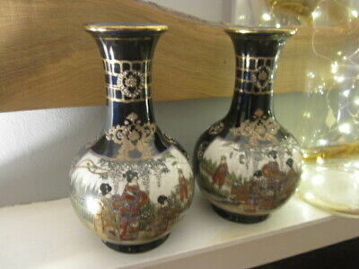 Fine Antique Pair Of Japanese Satsuma Pottery Vases  Meiji Period 10""