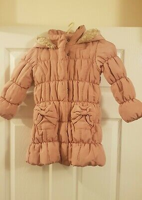 Vgc Girls Pink Pleated Hooded Warmer Jacket Coat Zipped Pockets Age 2-3 Years