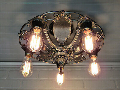 "Vintage Art Deco Semi Flush Mount Ceiling Light RESTORED 5 Light 16"" Diam RIDDLE"