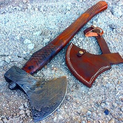 "TheBoneEdge 22.5"" Custom Handmade Damascus Steel Throwing Axe Hatchet Wood Hand"