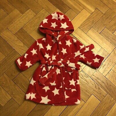 John Lewis Dressing Gown Baby Red White Stars 3-6 Months